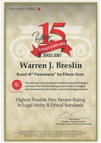 Warren J. Breslin - AV Preminent for 15 Years